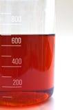 Recipiente de vidro graduado com líquido Fotos de Stock
