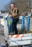Recipiente del camion di pulizia del facchino Fotografie Stock