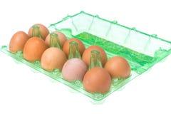 Recipiente di plastica con le uova colorate del pollo Fotografie Stock