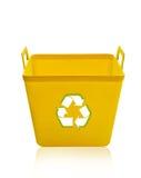 Recipiente di riciclaggio giallo Immagine Stock Libera da Diritti