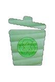 Recipiente di riciclaggio verde fatto della foglia verde Fotografie Stock Libere da Diritti