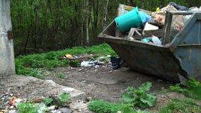 Recipiente do lixo na natureza e dispersado em torno do lixo e do desperdício filme