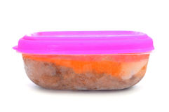 Recipiente plástico com alimento congelado Imagem de Stock