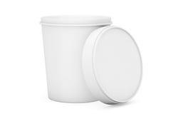 Recipiente plástico da cubeta da cuba do alimento branco para a sobremesa, iogurte, gelo Fotos de Stock Royalty Free