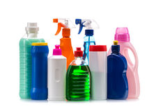 Recipiente plástico de produto de limpeza para a casa limpa Foto de Stock Royalty Free