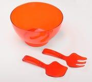 Recipiente plástico vermelho para agitar o bolo fotos de stock