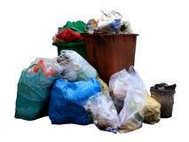 Recipiente, plastica della borsa di rifiuti, mucchio della borsa di immondizia, inquinamento da plastica residua Fotografie Stock