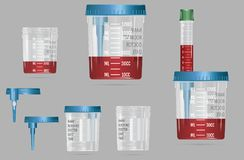 Recipiente realístico moderno do vácuo 3d com tampa e agulha para o blo ilustração do vetor