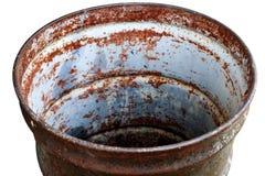 Recipiente, rifiuti, giro del cerchio del recipiente dell'olio del barilotto vecchio, borsa isolata su bianco del fondo Immagine Stock Libera da Diritti