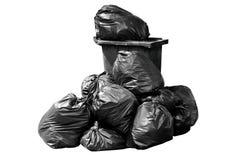 Recipiente, rifiuti, immondizia, rifiuti, mucchio dei sacchetti di plastica, il nero scuro dell'immondizia della borsa del recipi Fotografia Stock