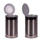 Recipiente vazio da lata de estanho do alimento isolado no branco Imagem de Stock Royalty Free