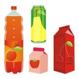 Recipientes aislados del zumo de fruta Imagenes de archivo