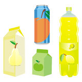 Recipientes aislados del zumo de fruta Imagen de archivo