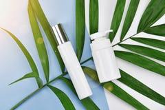 Recipientes cosméticos da garrafa com as folhas ervais verdes, etiqueta vazia para o modelo de marcagem com ferro quente, conceit foto de stock royalty free