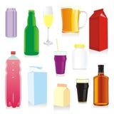 Recipientes de bebida isolados Fotografia de Stock
