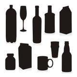 Recipientes de bebida isolados das silhuetas ilustração stock