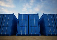 Recipientes de carga azuis fotografia de stock