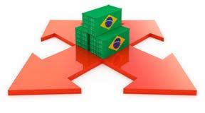 Recipientes de carga de Brasil ilustração do vetor