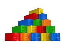 Recipientes de carga empilhados coloridos ilustração stock