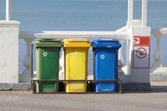 Recipientes de lixo para a separação do lixo Fotografia de Stock Royalty Free
