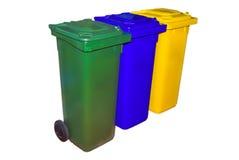 Recipientes de lixo para a separação do lixo Imagem de Stock Royalty Free