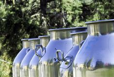 Recipientes do leite fotografia de stock royalty free