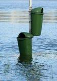 Recipientes inundados do lixo Imagem de Stock Royalty Free