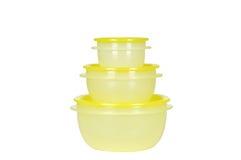 Recipientes plásticos amarelos Foto de Stock