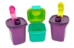 Recipientes plásticos do armazenamento imagens de stock