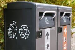 Recipienti astuti moderni Raccolta dei rifiuti Raccolta separata di immondizia e di spreco biodegradabile Immagini Stock Libere da Diritti