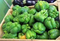 Recipienti di legno dei peperoni verdi freschi e delle melanzane porpora Immagini Stock Libere da Diritti