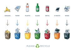 7 recipienti di riciclaggio di segregazione con rifiuti Immagine Stock