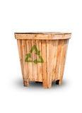 Recipienti di riciclaggio fatti di legno Fotografia Stock