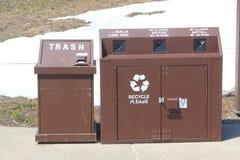 Recipienti di riciclaggio pubblici Fotografie Stock