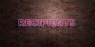 RECIPIENTS - fluorescent Neon tube Sign on brickwork - Front view - 3D rendered royalty free stock picture Stock Photos