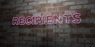 RECIPIENTS - Glowing Neon Sign on stonework wall - 3D rendered royalty free stock illustration Stock Photography