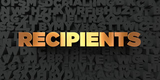 Recipients - Gold text on black background - 3D rendered royalty free stock picture Royalty Free Stock Photo