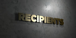 Recipients - Gold text on black background - 3D rendered royalty free stock picture Stock Image