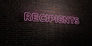 RECIPIENTS -Realistic Neon Sign on Brick Wall background - 3D rendered royalty free stock image Stock Photography