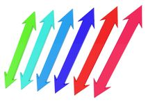 Reciprocal arrows of different colors. In background vector illustration