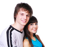 Reciprocal love. Close-up face of two young beautiful couple Stock Photo
