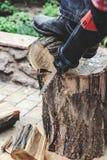 Reciprocating power saw sawing round timber closeup Stock Photography