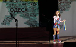Recital child. The soloist of the art group Soniyh on the stage of the Kyiv Palace of children and youth. Celebration of the anniversary of the art group Stock Photos