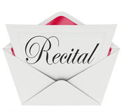 Recital Word Invitation Dance Music Concert Performance Ticket P. Recital word on an invitation, ticket or pass for admission to a music, dance or singing Stock Image