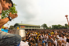Recitation of mantras and blessing of participants Wai Kroo (Luang Por Phern) Master Day Ceremony at Wat Bang Phra Royalty Free Stock Image