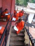 Small Buddhist monk in Sri lanka. stock photo
