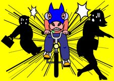 Reckless bike riding. Man driving a bike like race horse dashing Stock Image