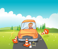 A reckless driver bumping the traffic cones. Illustration of a reckless driver bumping the traffic cones Royalty Free Stock Images