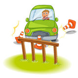 A reckless driver bumping the traffic cones. Illustration of a reckless driver bumping the traffic cones on a white background Stock Photo
