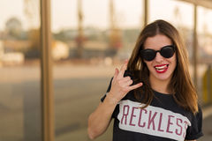Reckless girl in the city Royalty Free Stock Image